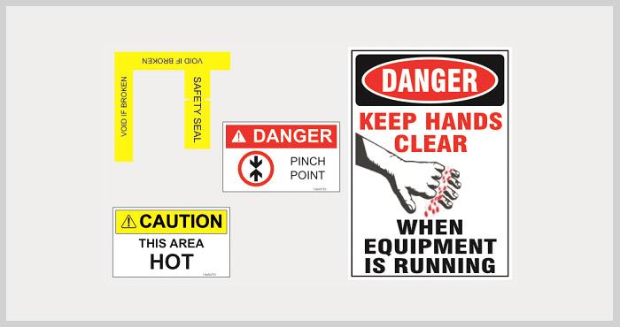 Adesivos de sinalização de segurança